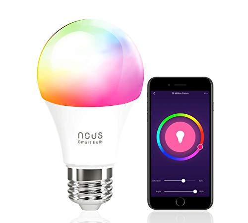 Nous P3 Smart WLAN LED Lampe Wifi Glühbirne E27 RGB Birne Kompatibel mit Amazon Alexa Echo Google Home Assistant Kein Hub Erforderlich Dimmbar Warmweiß bis Tageslicht 9 W 2700K-6000K 800LM