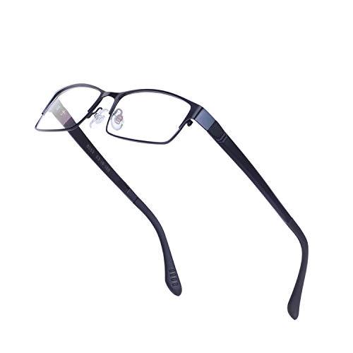 JoXiGo Brillenfassungen für Herren Ohne Stärke Klar Glas Rechteckig Metall Schwarz Rahmen mit Brillenetuis