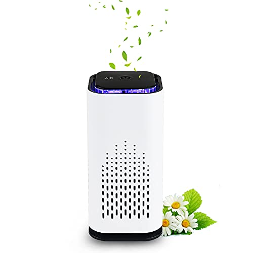 Crazepony Car Air Purifier USB Small Mini Home Air Purifier with Hepa Filter Air Cleaner Eliminate Smoke Dust Pollen Dander Air Purifiers for Car Home Bedroom Living Room Kitchen and Office