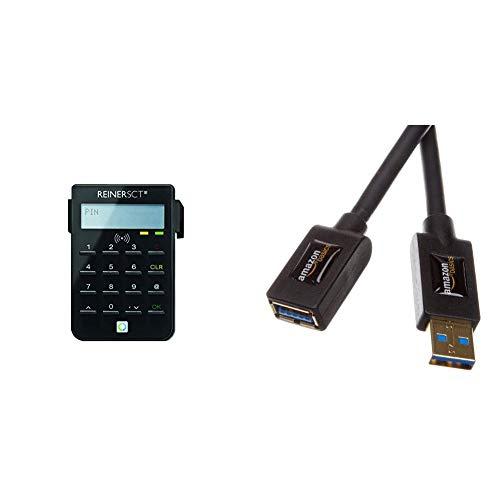 REINER SCT cyberJack RFID Chip-Kartenlesegerät | Generator für Online-Banking; & AmazonBasics USB 3.0-Verlängerungskabel (A-Stecker auf A-Buchse) 3 m (Abwärtskompatibilität zu USB 2.0 und 1.1)