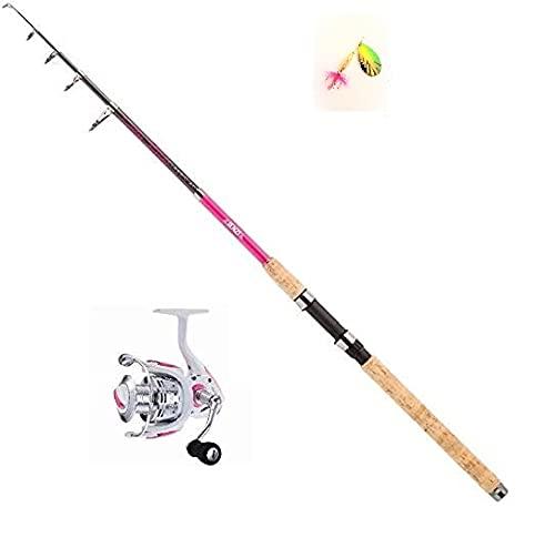 Jenzi Set Tele Lady-Stick Spin Pink 20-50 g 2,40 metros caña de pescar + carrete Cindy FX2500 + cebo y pegatina Petri Heil!
