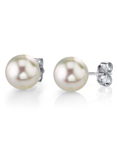 Orecchini a perno in oro 14 K con perle coltivate in Mare del Sud, 14-15 mm, qualità AAA. e Oro bianco, colore: bianco, cod. 1