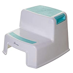 Dreambaby 2-Up Step Stool for Toddlers and Kids – Use for Potty Training and to Wash Hands- Great for in Bathroom Kitchen and Crawling into Bed (Aqua/White, 1 Pack)