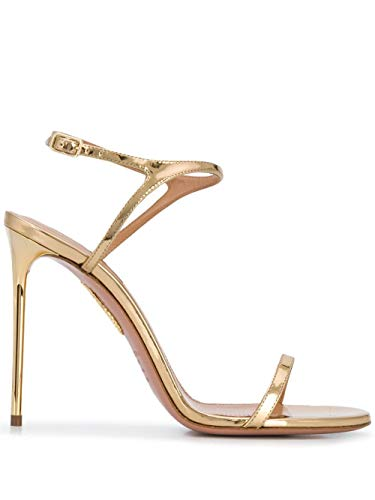 AQUAZZURA Luxury Fashion Damen NAKHIGS0SPESOG Gold Leder Sandalen | Herbst Winter 20
