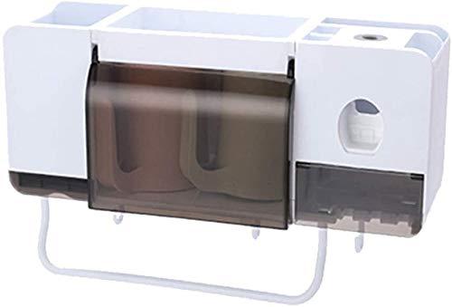 AINIYF Bagno Bagno Doccia Mensola Organizzatore Parete Montato Porta Spazzolino da Denti Spremere Punch Multifunzionale Libero di plastica Bianca, 3 Stili (Colore: 2 Tazze)