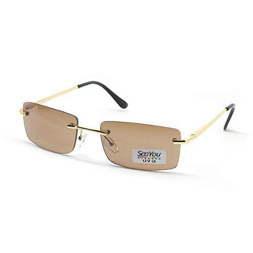 SY SEEYOU lunettes de soleil sans Cadre carrées verre Brown transparent multicolores rectangulaire (Brown)