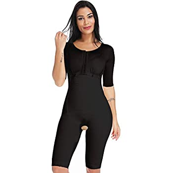 MISS MOLY Bodysuit Body Shaper Post Surgery Seamless Fajas Compression Garment Full Shapewear Black  Black (with Open Crotch Control  XX-Large