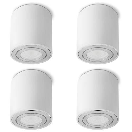 SSC-LUXon CELI-3W Aufbaustrahler LED Bad IP44 4er Set weiß - inkl. wechselbarem LED GU10 6W warmweiß - 4x Aufbau Deckenlampe