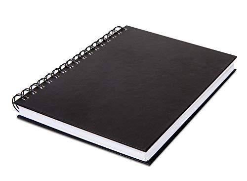 Honsell Cuaderno de bocetos con espiral y tapa dura DIN A4, formato vertical, 100 hojas, 110 g/m², papel puro, borrar, libre de ácidos y resistente al envejecimiento, negro blanco