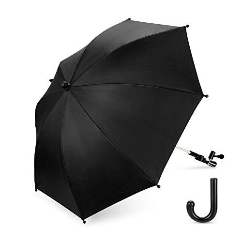 Luchild Universal Sonnenschirm Regenschirm für Kinderwagen & Buggy UV Schutz 50+ Babywagen Schirm mit Universal Halterung mit 360° flexiblen Schwanenhals (Schwarz)