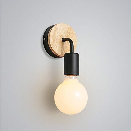 Mengjay Petite lampe murale en bois Lampe Murale Moderne Simple Lampe Industrielle en Bois Appliques Murales Decoration de la maison,Noir