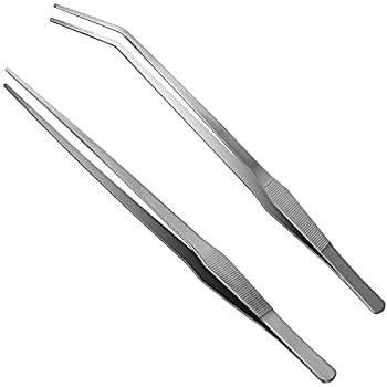 Luxiv Aquarium Tweezers Extra Long 15 inches Stainless Steel Straight and Curved Tweezers 38cm Extra Long Tweezers for Fish Tank Plant Aquascape Tools Feeding Tongs