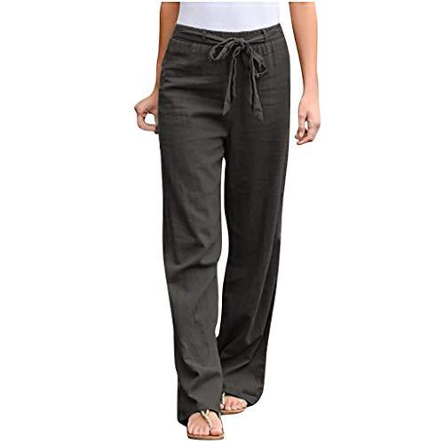 WINJIN Pantalon Fluide Femme Ete Trousers Ample Pantalon Droit Casual, Coton et Lin Taille Elastique Couleur Unie avec Poches