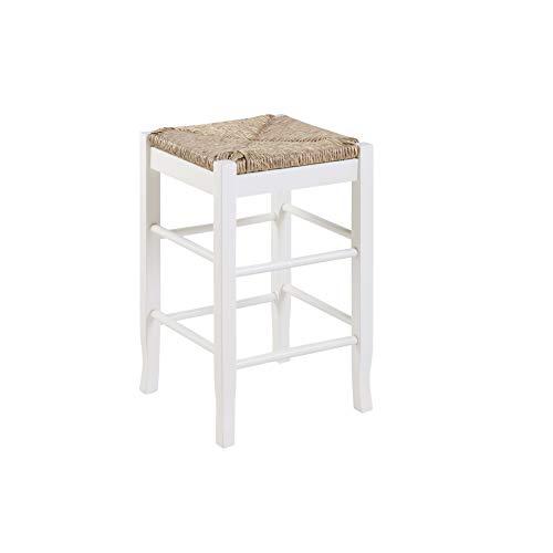Boraam Square Rush Seat Counter Height Stool, 24-Inch, White