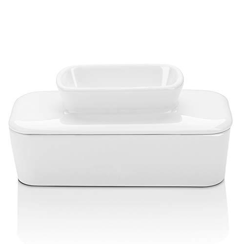 Sweese Porcelain Butterdose, Butterdose mit Wasser, perfekt für Ostküste und Westküste Butter - auszutauchen ohne Kühlung, Weiß East size