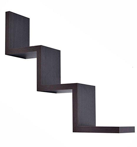 Vetrineinrete Mensola da parete a zig zag in legno MDF libreria design moderno wengé o noce 3 ripiani scaffale fissaggio a muro a scomparsa kit incluso 59 x 12 cm (Wengé) D13
