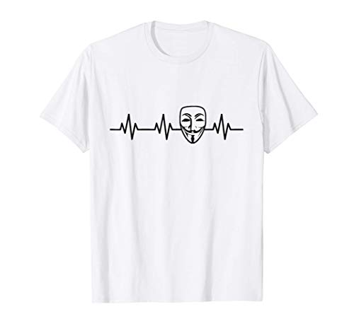 Lifeline Heartbeat Anonymous Mask Internet Hacker Mask Gift Camiseta