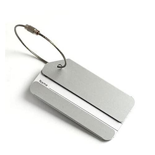 TTCI-RR Etichette Bagagli, Moda Bagaglio Tags Lega di Alluminio Donne Uomo Uomo Viaggio Bagaglio Valigia Bagaglio Nome Etichetta Supporto Accessori da Viaggio (Color : Silver)