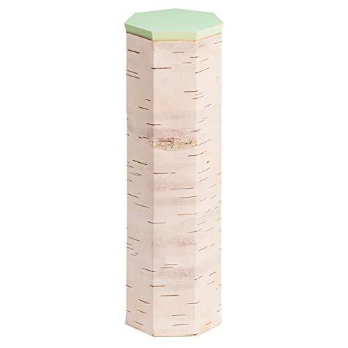 MOYA hochwertige handgefertigte Vorratsdose/Frischhaltedose aus Birkenrinde – antibakterielle und langlebige Aufbewahrungsbox mit Holz-Deckel – Spaghetti-Mehl-Zucker-Müsli-Dose 9x30cm (Mint)