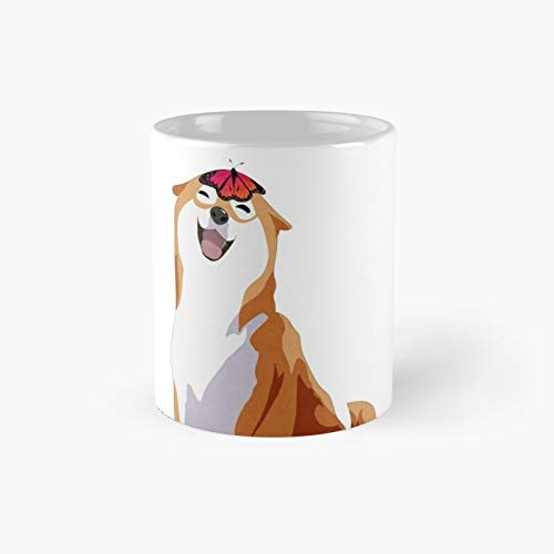 Happy Shiba Inu - Pink Butterfly Classic Mug Ceramic Coffee White (11 Ounce) Tea Cup Gifts For Bestie, Mom And Dad, Lover, Lgbt