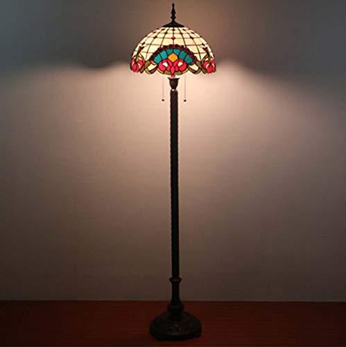 Yjmgrowing 16-inch barok Tiffany stijl vloerlamp voor slaapkamerlamp woonkamerlampen met glad schilderij vintage vloerlamp verlichting, ritssluitingsschakelaar, E27 * 2