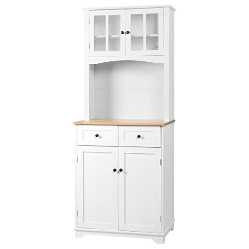 MUPATER Kitchen Pantry Cabinet Buffet Hutch with Drawers and Microwave Space, Kitchen Storage Sideboard with Framed Glass Doors and Shelves, White