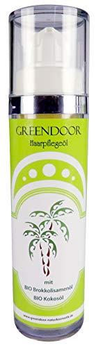 GREENDOOR Haarpflegeöl 50ml, nährendes Haaröl, natürlicher Hitzeschutz mit BIO Brokkolisamenöl, Haar-Pflege mit BIO Kokosöl, ohne Silikon, ohne Palmöl, Aufbaupflege für Haare, Naturkosmetik