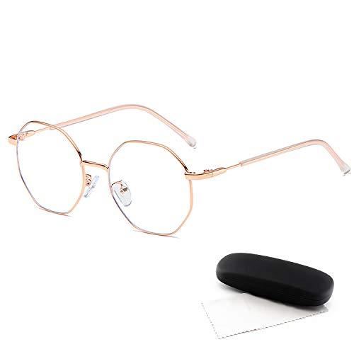 DUDUKING ohne Sehstärke Blaulichtfilter Brille Computerbrille Metallgestell Brillen blendfrei kratzfest für Damen und Herren Blockieren Blaue Licht PC Brille