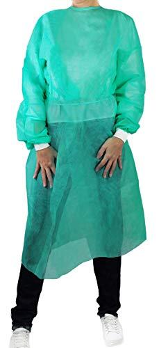 BERICAH 70060 camicie TNT usa e getta con polsini, non sterile, verde, confezione da 10