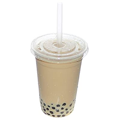 Belinlen 100 Sets 20 Ounce Clear Plastic Cups with Lids and Straws Disposable Cups Perfect for Cold Drinks, Iced Coffee, Tea, Smoothie etc.