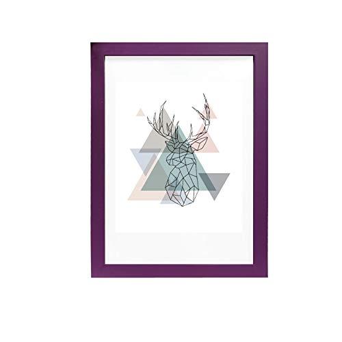 Artepoint Kunststoffrahmen Bilderrahmen von 9x13 bis 30x40 Querformat und Hochformat zum Aufhängen Rahmen Farbe Fliederviolett - Format 30x40