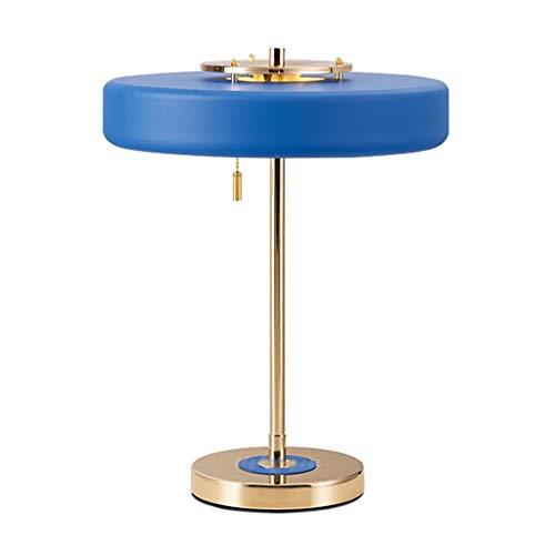 LIULU Metall-Tischlampe Glas-Lampenschirm Moderne Wohnkultur Tischlampe for Schlafzimmer Wohnzimmer Studienbüro (Color : Blue)