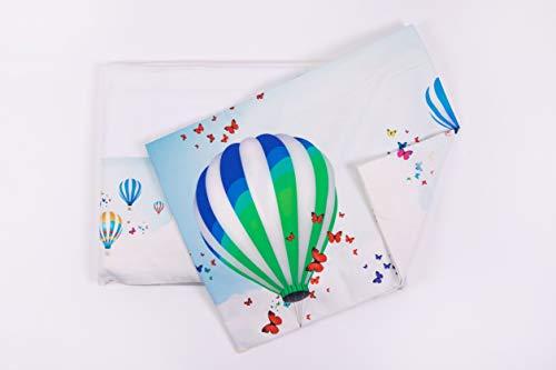 HomeLife Zestaw pościeli, 100% bawełna, prześcieradło + prześcieradło z gumką + poszewka na poduszkę z rzepką na łóżko dwuosobowe/pojedyncze / białe + balon na gorące powietrze łóżko pojedyncze