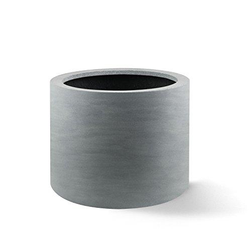 """Luca Lifestyle Pflanzkübel """"Argento Cylinder"""" Betongrau Rund Fiberglas *5 Jahre Garantie* - 48x48x30cm - F1113"""