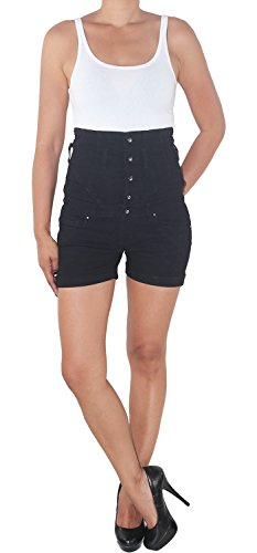 Damen Hochschnitt Hochbund Shorts Hot Pants Jeans Kurze Hose Schwarz Stretch X312 M/38