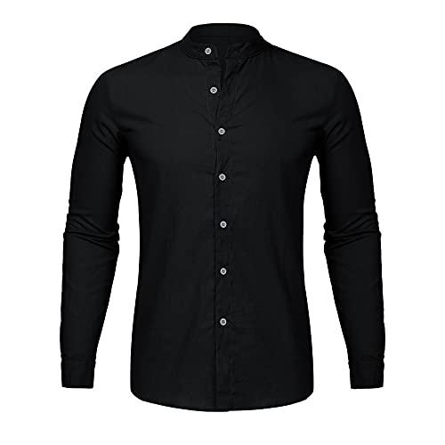 Camiseta casual con cuello en V y botones de manga larga para hombre