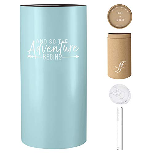 And So The Adventure Begins   14 Insulated Tumbler with Lid and Straw – Gift Idea for Graduation, Promotion, Going Away, Moving Away, New Job, Divorce for Women or Men (Blue)