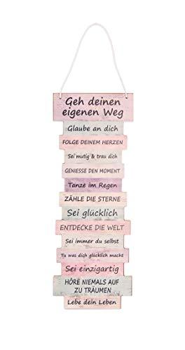 BigDean Motivationsschild Schild Dekoration Lebenseinstellung Plankenschild Holzdeko Holzdekoration Vintage Shabby 41 cm hoch 15 cm breit Pastell