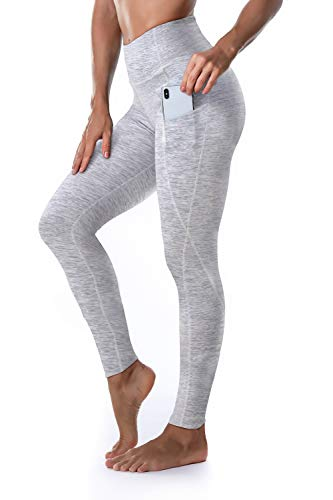 Ritiriko Women's Yoga Pants High Waisted Crop Workout Running Leggings with Side Pocketed Tummy Control