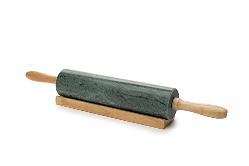 Fox Run Marble Rolling Pin and Base, Green