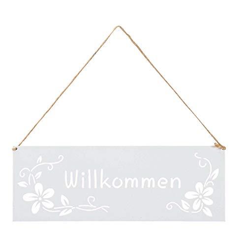 levandeo Schild Willkommen 25x9cm Außen Garten-Deko Weiß Blumen Metall Türschild Wandbild Außendeko