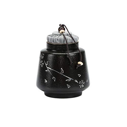 TQJ Haustier Asche Keramik Beerdigung Silber Kirschblüte Steinzeug Retro Mini Keramik Eine kleine Anzahl von Menschen oder Haustiere Asche Dosen Kork Dichtung Mini Trompete Souvenir (Color : Black)