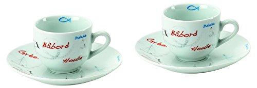 Jd Diffusion K4804JMER Cote Mer - Set di 2 tazzine da caffè, Multicolore