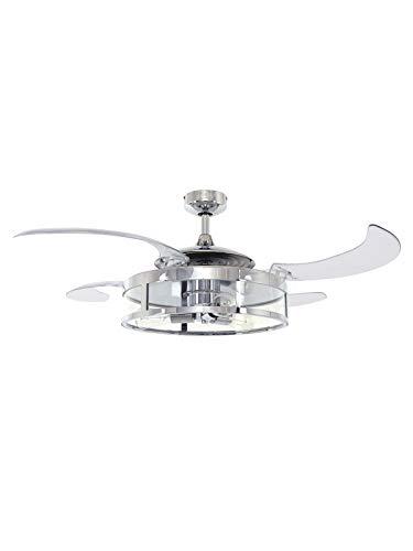Fanaway New Classic ventilatore a soffitto e luce, argento, E27, 60 Watt, acciaio