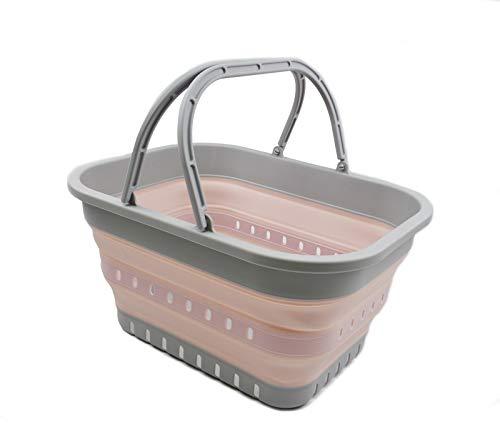 SAMMART 19L (5 galones) Bañera plegable con asa, cesta portátil para picnic al aire libre / cráter, bolsa de compras plegable, contenedor de almacenamiento ahorro de espacio (negro) (1, gris/rosa)