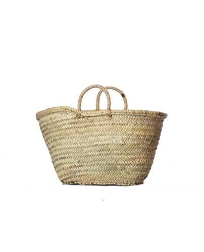 Wicker & Co Palm Basket with Handle 40 x 24 cm, Brown, 40 x 24 cm