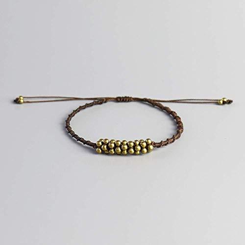 DJPP Handgemachte wasserdichte Böhmen Wachsfaden Kupfer Perlen Armband handgewebte Spirale Knoten Seil Armreifen für Frauen Männer Perlen Armbänder Valentinstag, Geburtstagsfeier, beste Geschenk für