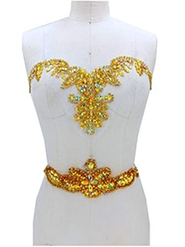 Rhinestone Applique with Crystal Trim 3D lace Patches Great for DIY Neckline Bodice Belt Wedding Bridal Prom Dress A3 (Gold)