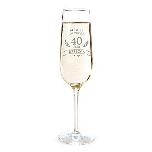 AMAVEL Flute con Incisione per i 40 Anni - Auguri di Cuore - Personalizzato con Nome - Bicchieri da Spumante in Vetro - Calici Champagne - Accessori Cucina - Idee Regalo Originali
