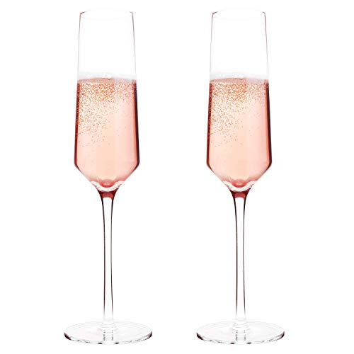 Classy Champagne Flutes by Bella Vino - Hand Blown Crystal...